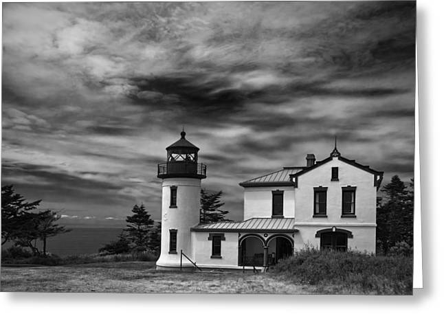 Admiralty Head Lighthouse Bw Greeting Card