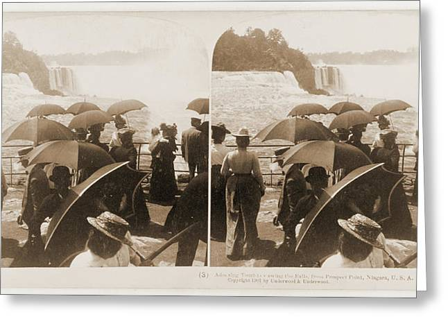 Admiring Tourists Viewing The Falls, From Prospect Point Greeting Card by Litz Collection