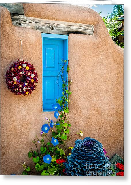 Adobe And Blue Greeting Card by Bob and Nancy Kendrick
