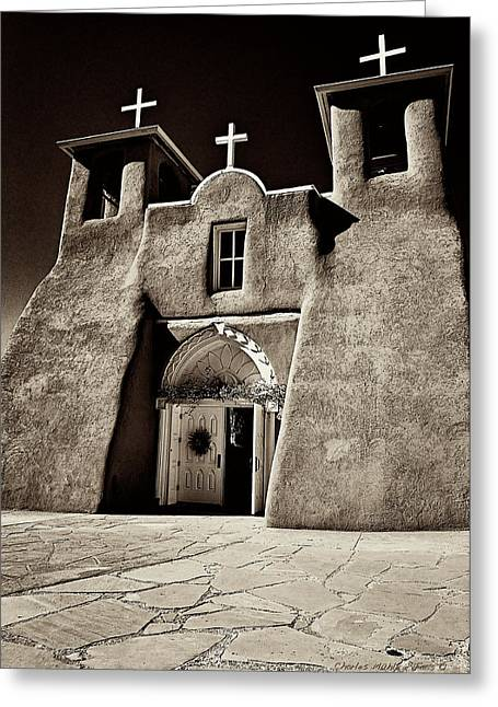 Adobe Church Greeting Card by Charles Muhle