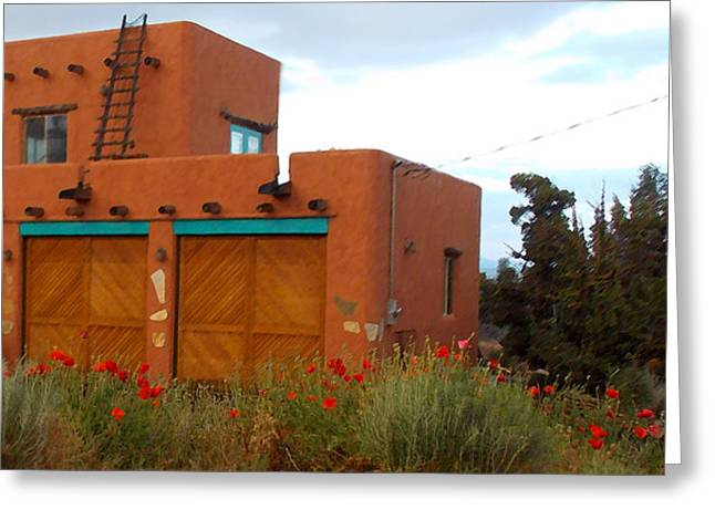 Adobe House And Poppies Greeting Card
