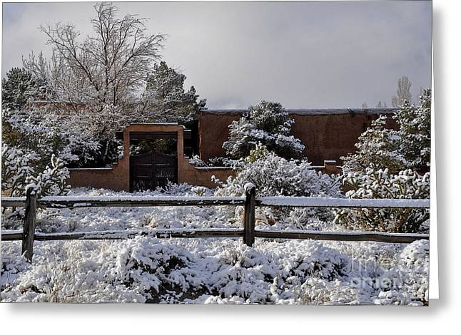 Greeting Card featuring the photograph Adobe Snow by Gina Savage