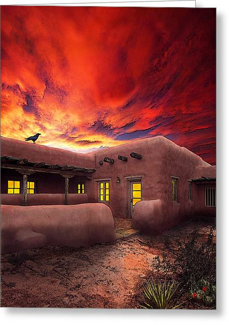 Adobe Sunset Greeting Card by Ric Soulen
