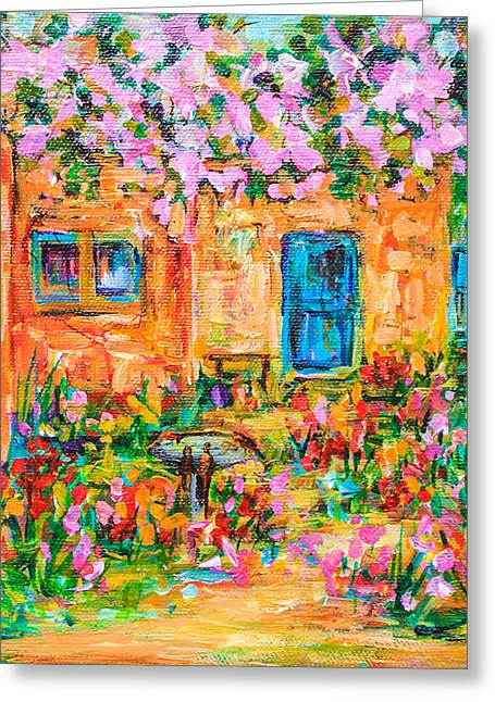 Adobe With Pink Flowers Greeting Card