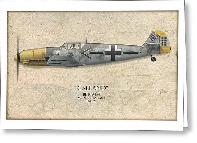 Adolf Galland Messerschmitt Bf-109 - Map Background Greeting Card by Craig Tinder
