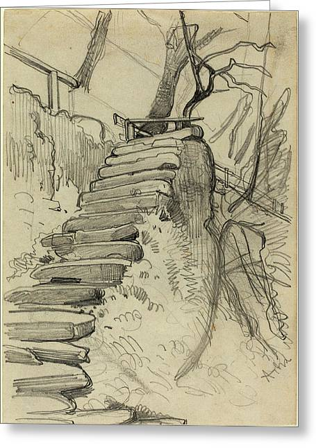 Adolph Menzel, Flight Of Stone Steps In A Garden Greeting Card