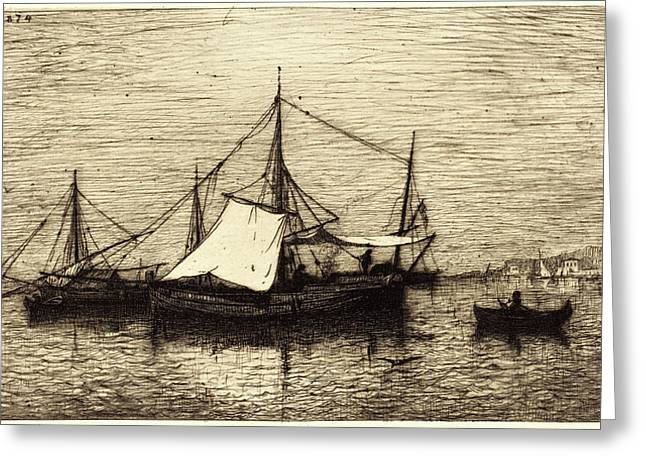Adolphe Appian, French 1818-1898, Coasting Trade Vessels Greeting Card by Litz Collection