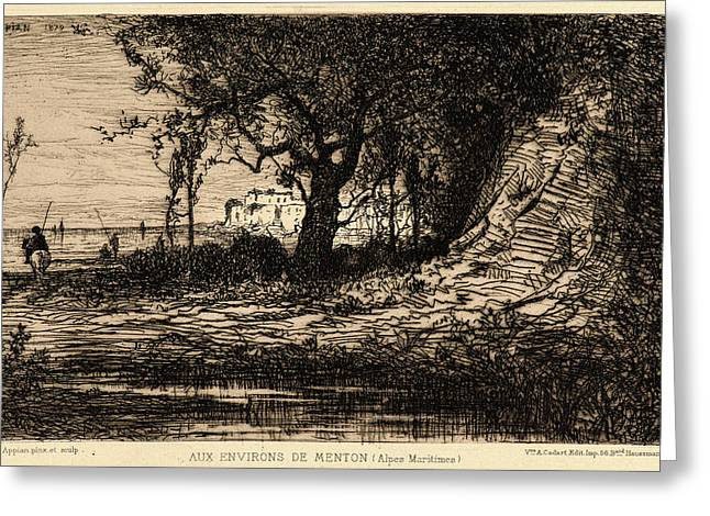 Adolphe Appian French, 1818 - 1898. Near Menton Aux Greeting Card