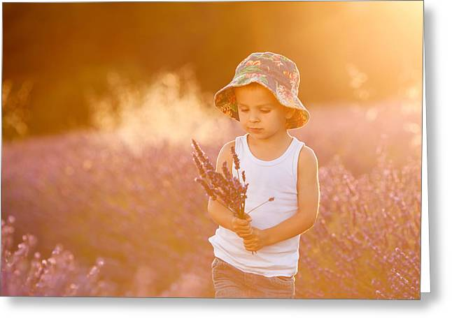 Adorable Cute Boy With A Hat In A Lavender Field Greeting Card by Tatyana Tomsickova