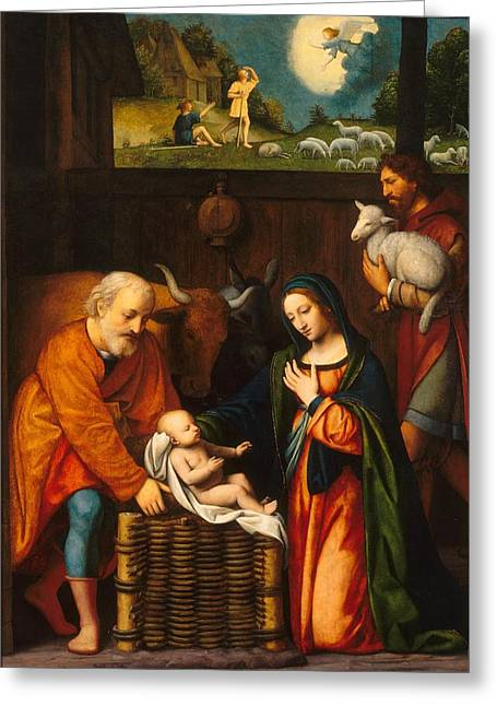 Adoration Of The Christ Child  Greeting Card by Celestial Images