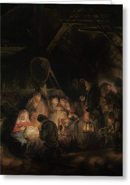 Adoration Of The Shepherds, 1646 Oil On Canvas Greeting Card by Rembrandt Harmensz. van Rijn