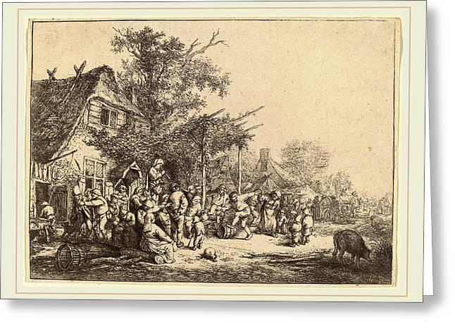 Adriaen Van Ostade Dutch, 1610-1685, Dance Under The Trellis Greeting Card