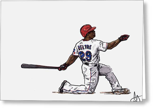 Adrian Beltre Greeting Card by Joshua Sooter