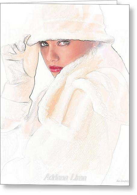 Adriana Lima Art Nouveau Greeting Card by Alan Armstrong