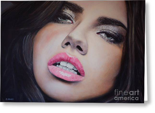 Adriana Lima Oil On Canvas Greeting Card by David Rives