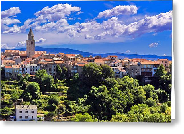 Adriatic Town Of Vrbnik Panoramic View Greeting Card