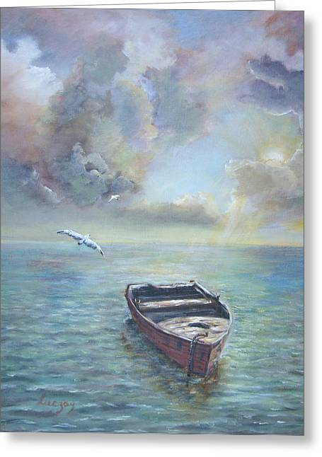 Greeting Card featuring the painting Adrift by  Luczay