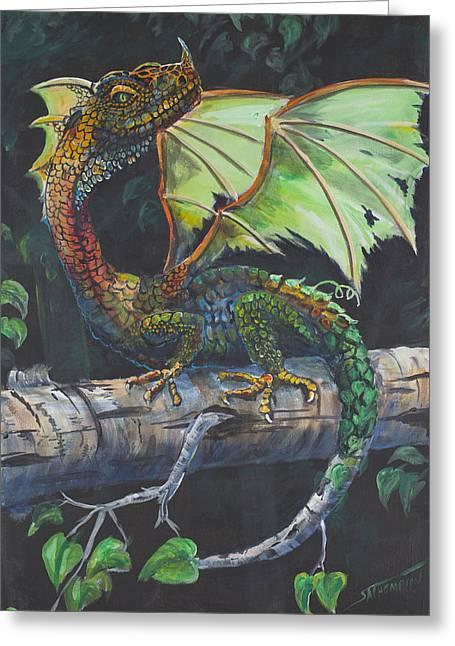 Adult Alaskan Birch Dragon Greeting Card by Scott Thompson