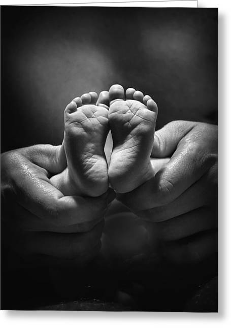 Adult Hands Holding Bare Baby Feet Greeting Card by Pete Stec