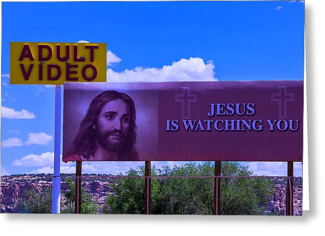 Adult Video With Billboard Greeting Card by Garry Gay