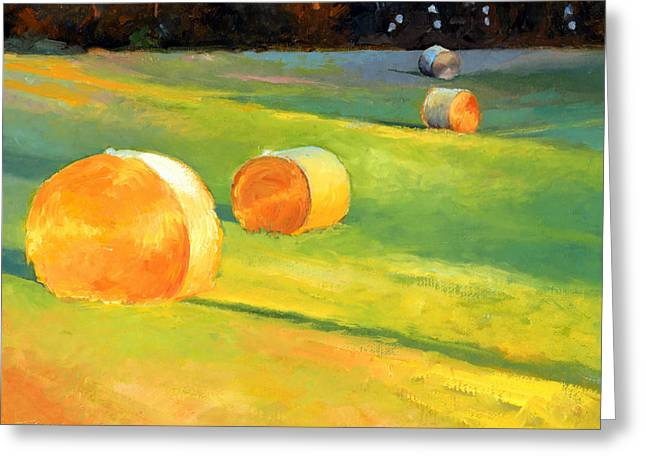 Advance Mills Hall Bales Greeting Card by Catherine Twomey