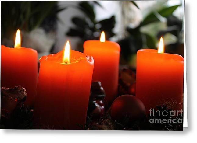 Greeting Card featuring the photograph Advent Candles Christmas Candle Light by Paul Fearn