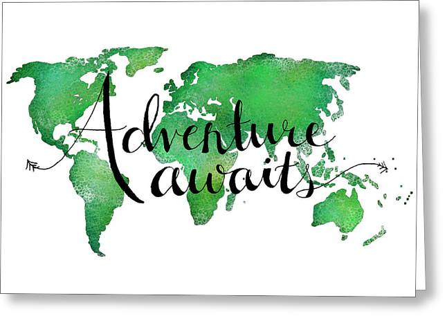 Adventure Awaits Green Greeting Card by Michelle Eshleman