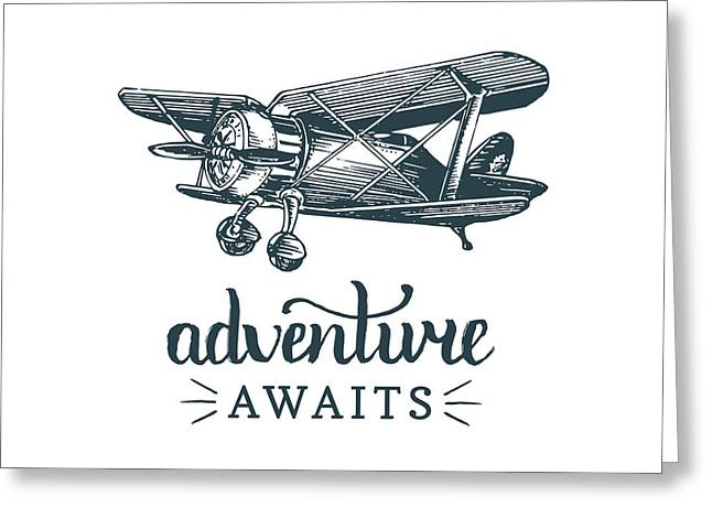 Adventure Awaits Motivational Quote Greeting Card by Vlada Young