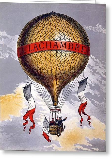 Advertisement For Balloons Manufactured Greeting Card by French School