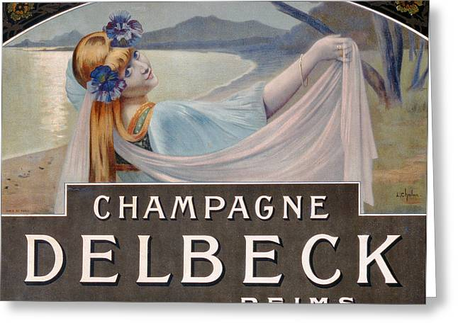 Advertisement For Champagne Delbeck Greeting Card