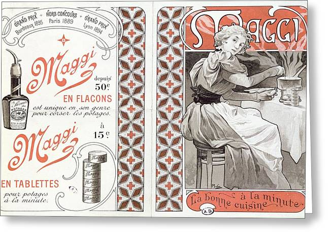 Advertisement For Maggi, Late 19th Century Colour Litho Greeting Card by Alphonse Marie Mucha