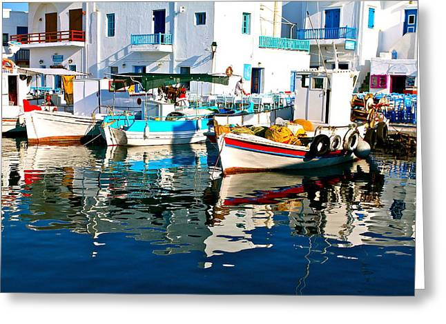 Aegean Harbor  Greeting Card by John Babis