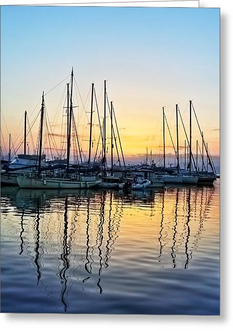 Aegina Harbour Sunset Greeting Card