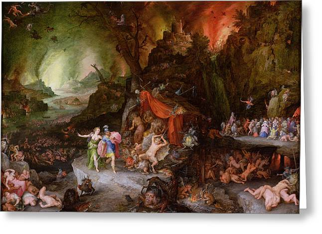 Aeneas And The Sibyl In The Underworld, 1598 Oil On Copper Greeting Card by Jan the Elder Brueghel