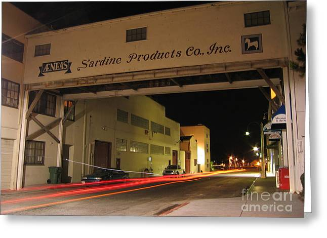 Greeting Card featuring the photograph Aeneas Overpass On Cannery Row by James B Toy