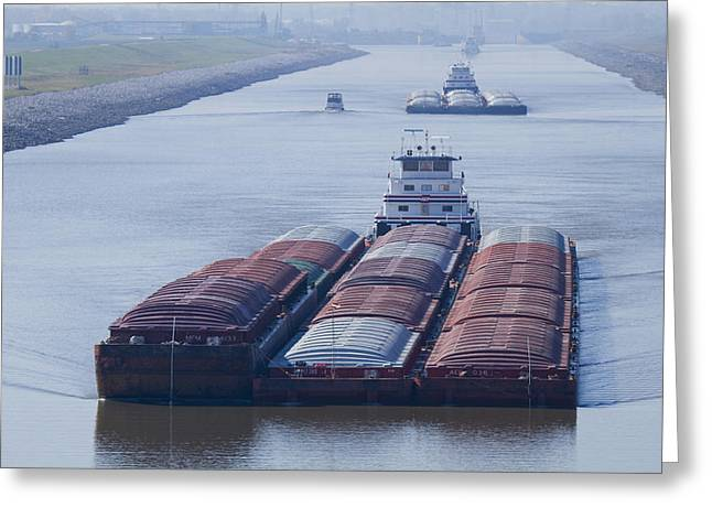 Aep Tow Passing Through The Chain Of Rocks Canal Greeting Card