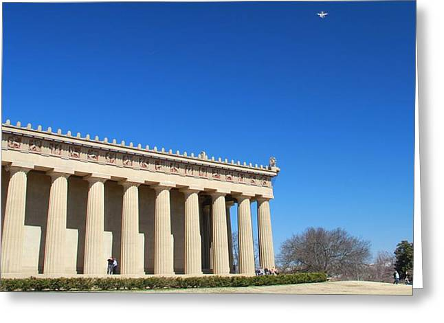 Aerial Drone Uav At The Parthenon Greeting Card by Dan Sproul