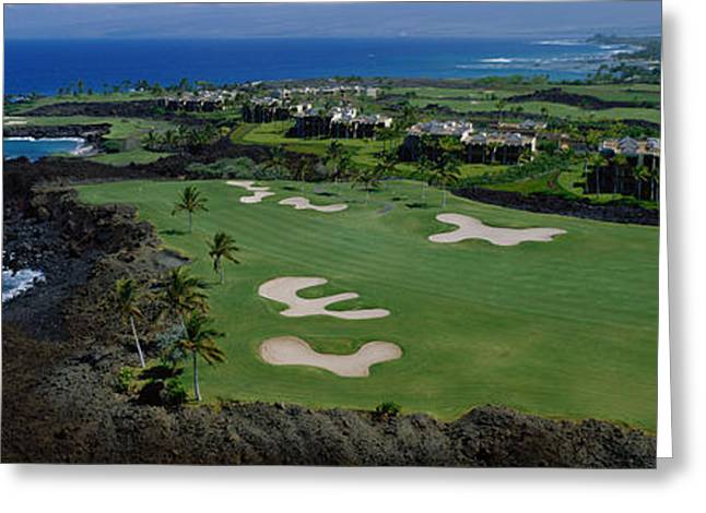 Aerial Francis H Li Brown Golf Course Greeting Card by Panoramic Images