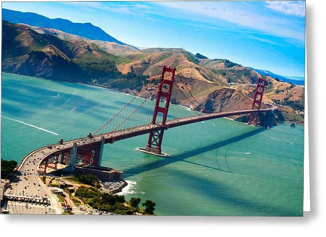 Aerial Golden Gate Bridge Over San Francisco Bay Greeting Card by Laura Palmer
