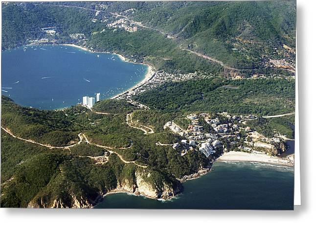 Aerial  Of Acapulco Bay Mexico From Both Sides Greeting Card
