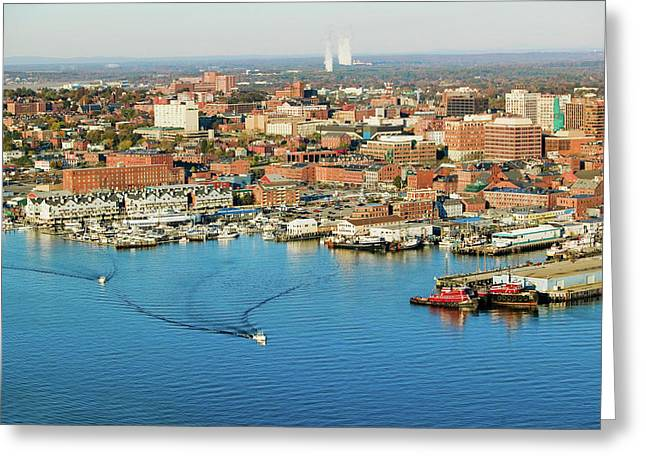 Aerial Of Downtown Portland Harbor Greeting Card
