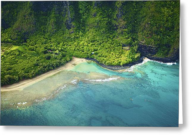 Aerial Of Kee Beach Greeting Card by Kicka Witte