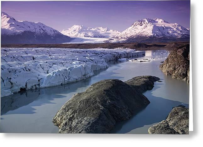 Aerial Of Knik & Colony Glacier Greeting Card by Jeff Schultz