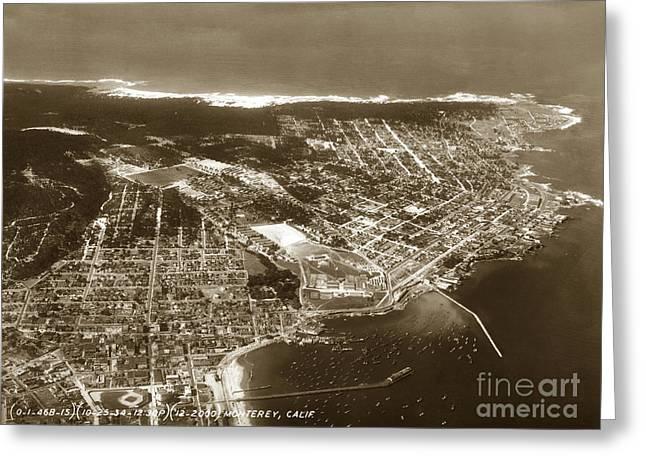Aerial  Of Monterey Calif. Oct. 25 1934 Greeting Card