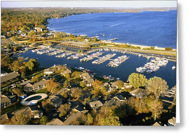 Aerial Of The Abbey Harbor - Fontana Wisconsin Greeting Card