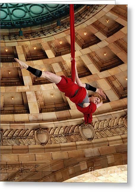 Aerial Ribbon Performer At Pennsylvanian Grand Rotunda Greeting Card by Amy Cicconi