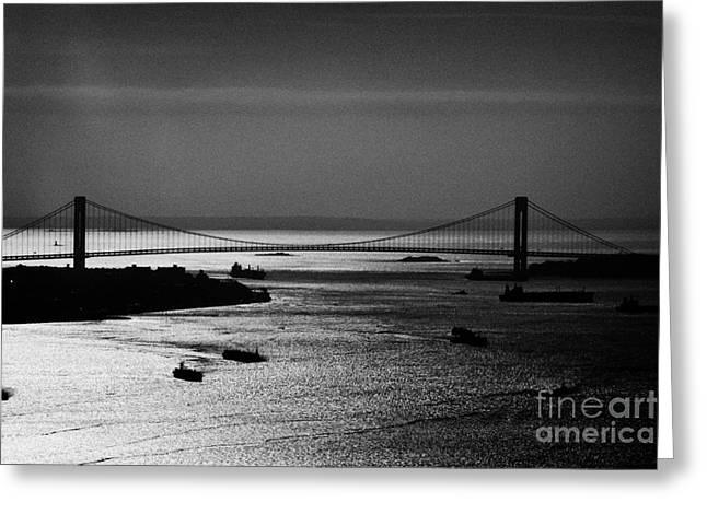 Aerial Shot Ships Navigate New York Bay Harbor Under Verrazano Narrows Bridge New York Greeting Card