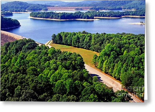 Aerial Summersville Dam And Lake Greeting Card by Thomas R Fletcher