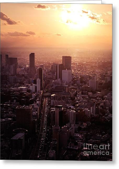 Aerial Sunset Scenery Of Shibuya Tokyo Greeting Card by Oleksiy Maksymenko