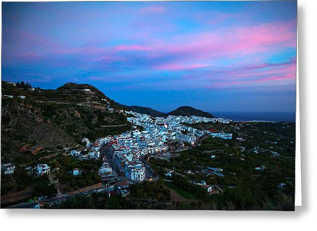 Aerial Sunset View Of Frigiliana, Costa Greeting Card